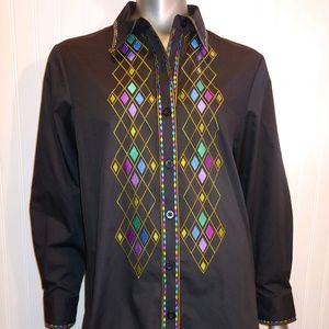 Bob Mackie Black Embroidered Blouse NWT - S